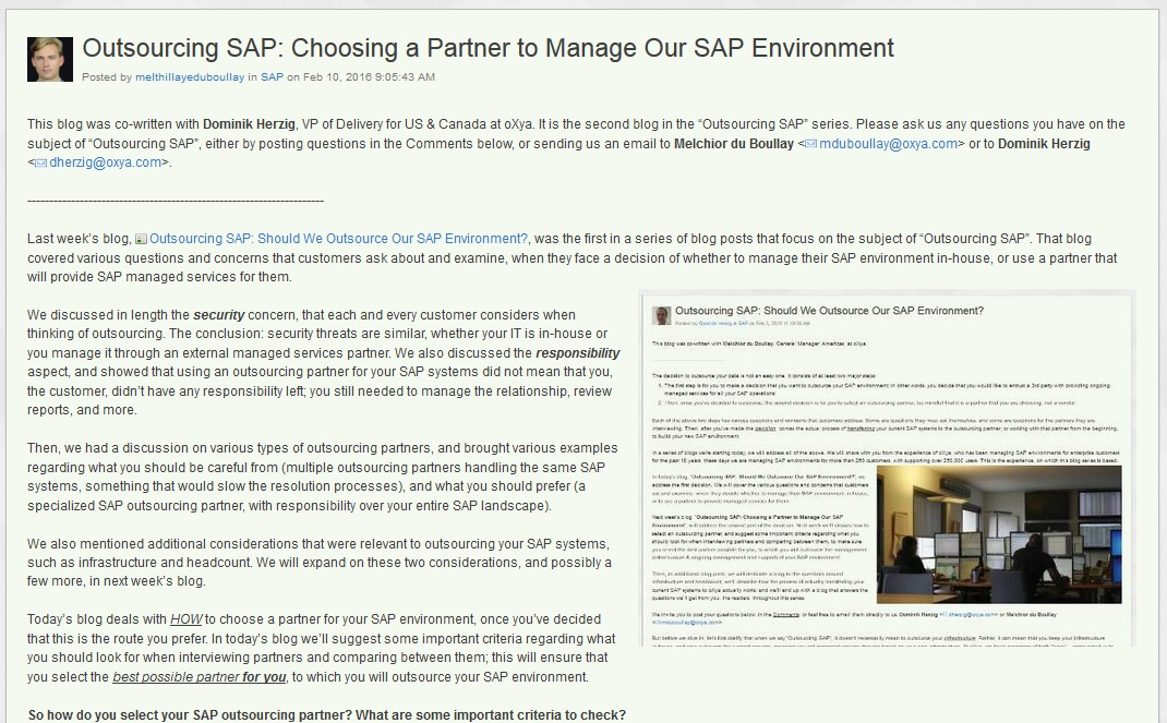 Outsourcing SAP: Infrastructure & Headcount Considerations
